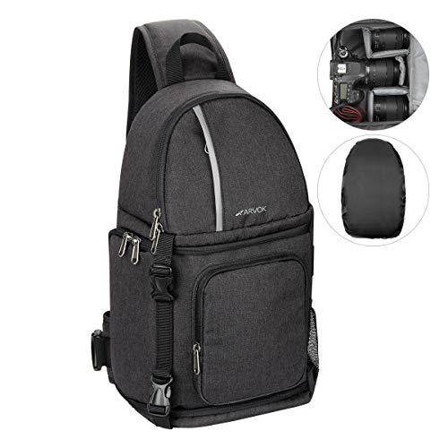 ARVOK DSLR-Kameratasche, SLR Kamera Fototasche Wasserdicht mit Schultergurt Kameratasche Schultertasche, Tragegurt und Zubehörfächern (Schwarz)