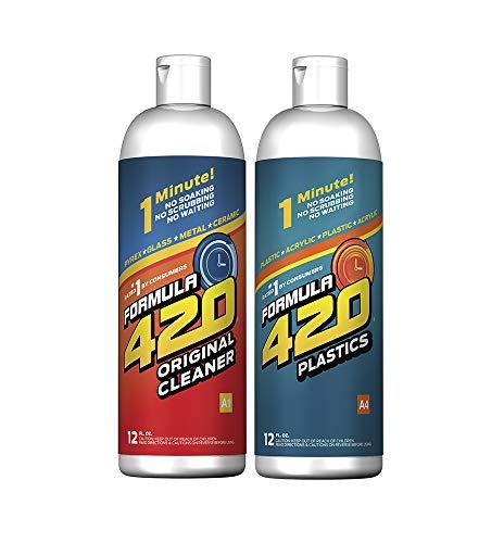 Formula 420 Variety Pack : 1 Bottle Glass Metal Ceramic Pipe Original Cleaner 12 Oz. & 1 Bottle Formula 420 Silicone-Plastics Cleaner 12oz (2 Bottles Total)