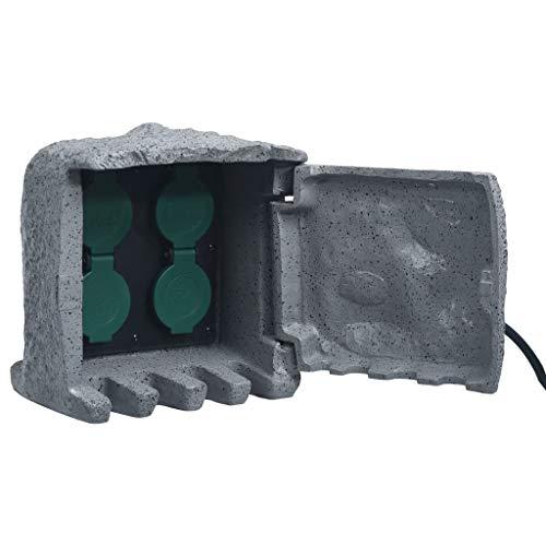 vidaXL Gartensteckdose 4-Fach Wasserdicht mit 1,5 m Kabel Universalstecker Steinoptik Außensteckdose Steckdose Steinsteckdose Polyharz Grau