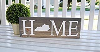 Kentucky Home Vintage Wood Sign Rustic Plaque Wall Decor Art Farmhouse Home Decoration - 8x24 inches