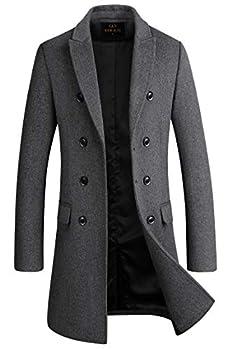 Men s Premium Wool Blend Double Breasted Long Pea Coat  Grey  X-Large