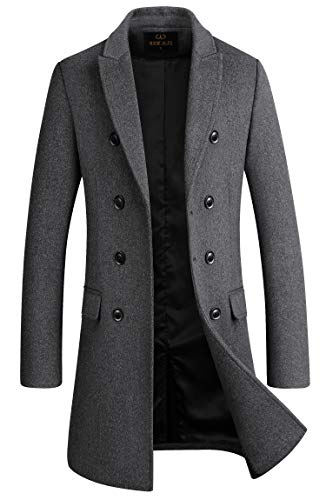 Men's Premium Wool Blend Double Breasted Long Pea Coat (Grey, Medium)