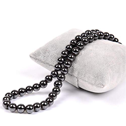 KJFUN Schwarze Runde Perlen Hämatit Halskette Perlenkette 6Mm 8Mm 10Mm Magnetkraft Schmuck Männer Frauen