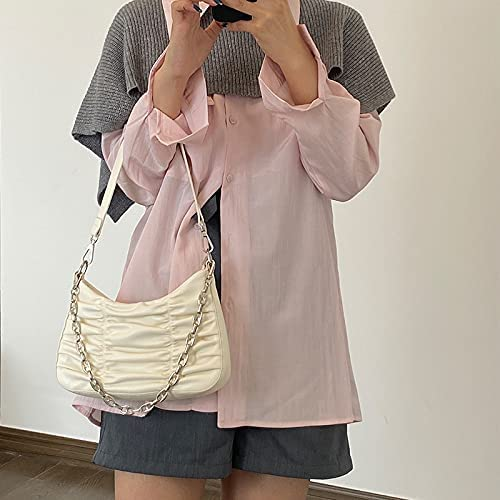 Shoulder Bags PU Leather Pleated Bags for Women Solid Color Shoulder Hobo Bag Female Travel Handbags and Purses Small Clutch Underarm Totes (Color : Beige, Size : 25x5x14cm)