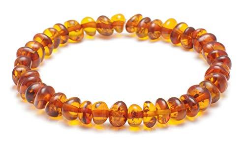 Amber Bracelet Adult - Strech - Length 20 cm - 100% Genuine Baltic Amber Beads - Authentic Curative Adornment - Men Women Adult/CGN.P-BRQstr20