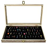 MOOCA Wooden Body Jewelry Tray with 54 Metal Clips, Belly Rings Case, Body Jewelry Stand, Body Jewelry Display with Belly Button Rings Pad with Easel, Coffee Color