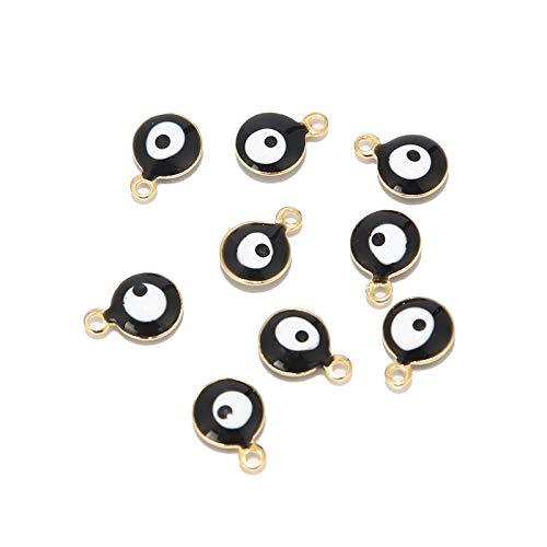 SS01 - 20 abalorios de acero inoxidable con forma de ojo de oro de 6 mm y 8 mm para pulsera y collar, tobillera para hacer YC0407 (color de metal: 8 mm, oro negro)