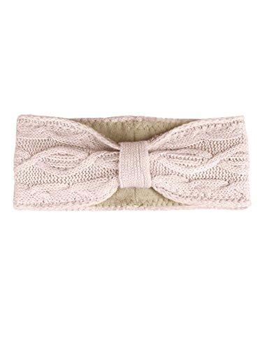 Zwillingsherz Stirnband mit Schleife und Kaschmir - Hochwertiges Strick-Kopfband für Damen Frauen Mädchen - Mit Fleece - Wolle - Ohrenschutz - Haarband - warm - weich für Winter und Frühjahr ros