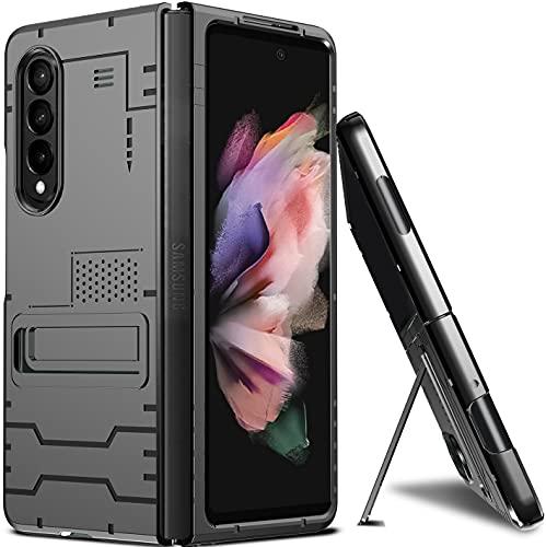 Milomdoi Exklusives Faltbares Stand-Design für Samsung Galaxy Z Fold 3 5G Hülle, Faltbare, Altra-Dünne PC-Hülle mit Halterung, Langlebig, rutschfest, Anti-Fingerprint für Galaxy Z Fold 3 5G-Schwarz