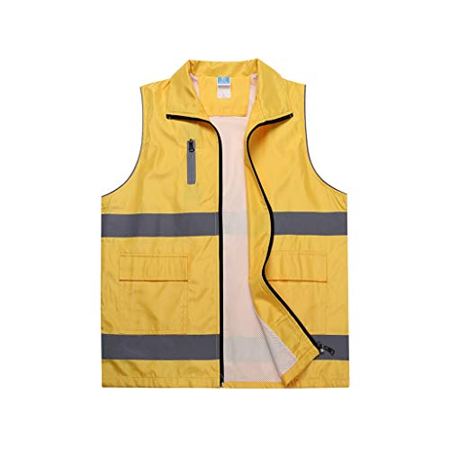 DBL Sicherheitswesten Leichte und atmungsaktive Arbeitskleidung Sicherheit bei Nacht Warnwesten mit hoher Sichtbarkeit Sicherheitswesten (Color : Yellow, Size : M)