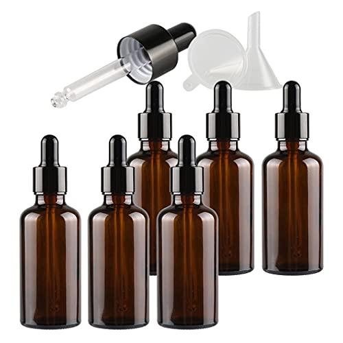 ZEOABSY 6 Pieza, Vacío 50ml Marrón Ámbar Botellas de Botellas de Cuentagotas Cristal, con anillo de negro y pipeta, para Aceite Esencial, Masaje,Fragancia, Aromaterapia, Laboratorio