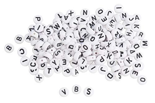 Diseño de juego de perlas de diámetro rico de letras y 7 x 4 mm, blanco