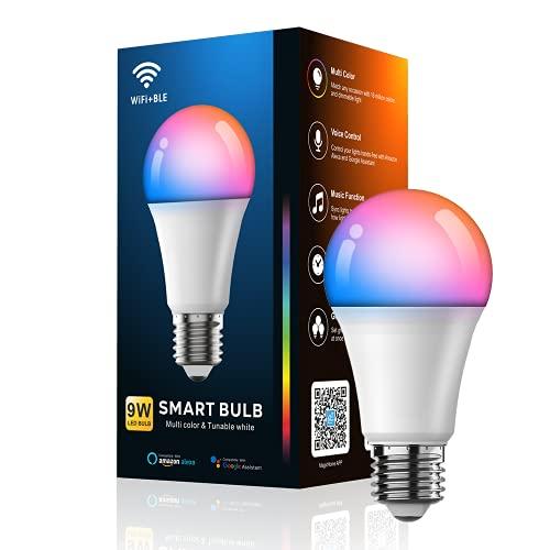 YOMYM 7W Bombilla LED Inteligente WiFi, E27 Bombilla LED Luces Cálidas/Frías & RGB, Lámpara WiFi Funciona con Alexa Google Home...