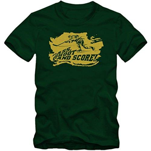 Eishockey-PSS T-Shirt Herren Eishockey Play Offs Fanshirt, Farbe:Dunkelgrün (Bottle Green L190);Größe:L
