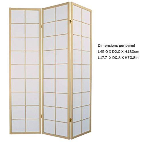 Fine Asianliving Japanischer Paravent Raumteiler Trennwand 3-teilig Shoji Reispapier - Naturell - B135xH180cm