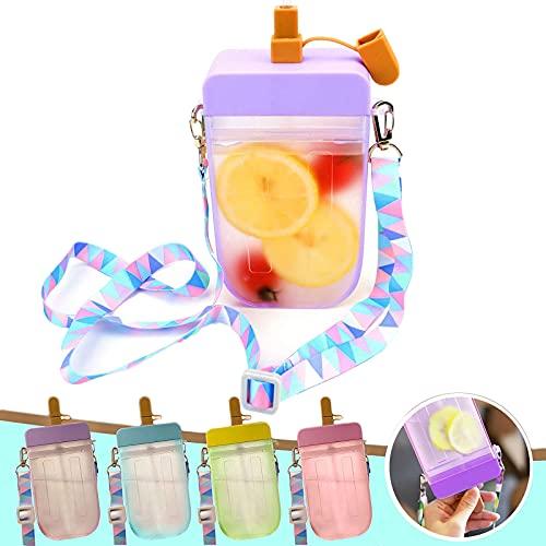 Lindas Botellas De Agua con Pajitas, La Jarra De Agua Transparente con Forma De Paleta, 10 Oz (300 Ml) Creativo Vaso De Plástico para Beber Jugo De Helado A Prueba De Fugas (Purple)