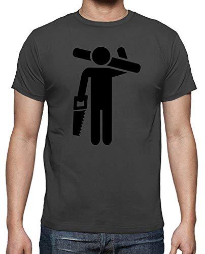 latostadora - Camiseta Carpintero Sierra para Hombre Gris ratón S