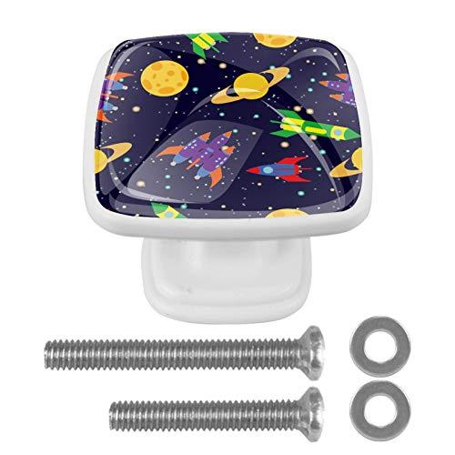 Pomo de armario Planetas de cohetes espaciales Pomos Cuadrados, 4 x Tirador de Cocina, Muebles para Armario, Puerta Armario, Gabinete, Cajón, Puertas de Muebles, Zapateros 3x2.1x2 cm