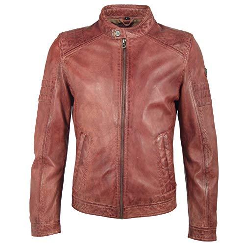 Gipsy Herren Lederjacke Übergangsjacke Bikerjacke (XL, Rot)