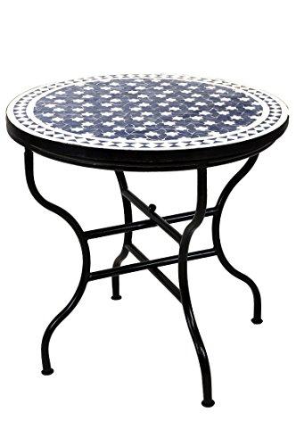ORIGINAL Marokkanischer Mosaiktisch Gartentisch ø 80cm Groß rund klappbar | Runder klappbarer Mosaik Esstisch Mediterran | als Klapptisch für Balkon oder Garten | Estrella Blau Weiss 80cm