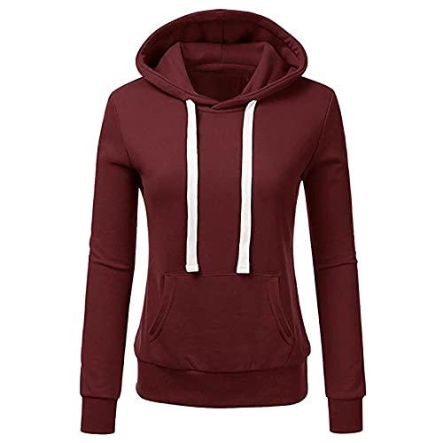 WAo Sudadera con capucha de color sólido para mujer, con capucha, con cordón, para mujer, con bolsillos grandes, Vino, L