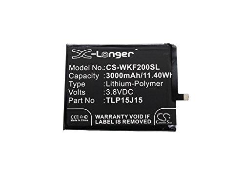 CS - Batteria ai polimeri di litio, 3000 mAh, compatibile con Wiko Fever 4G, sostituisce Wiko TLP15J15 TLP15J30 TLP15L27