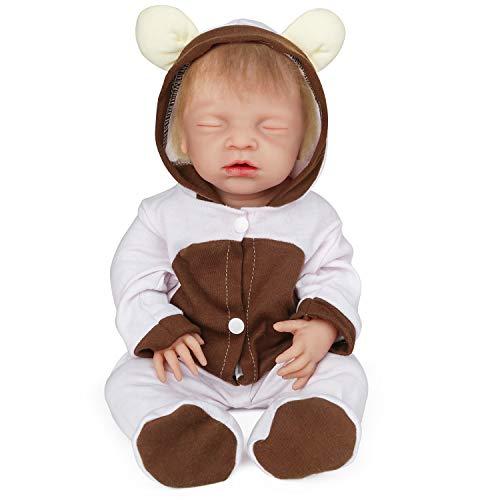 Vollence 18 Zoll schlafende Voll-Silikon-Baby-Puppen mit Haaren, Keine Vinyl-Puppen, Augen geschlossen Realistische Reborn-Baby-Puppen, Neugeborenes Baby-Puppe, Real Lifelike Baby-Puppen - Mädchen