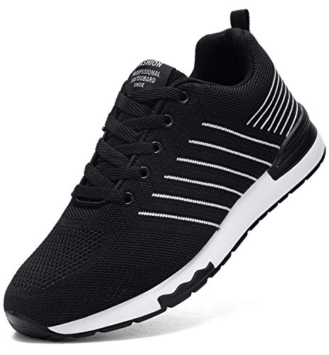 Kefuwu Freizeitschuhe Herre Damen Laufschuhe Leichte Sportschuhe Straßenlaufschuhe Sneaker Joggingschuhe Turnschuhe Tennisschuhe Walkingschuhe Traillauf Fitness Schuhe(42 Schwarz)
