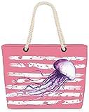 VOID Bolso de Playa XXL Bolsa Shopper Medusas 58 x 38 x 16cm 23l Beach Bag Jellyfish, Kissen Farbe:Rosa