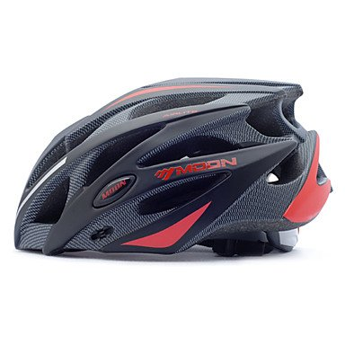 MOON Casco de Ciclismo Negro + Rojo PC + EPS 25 Vents...