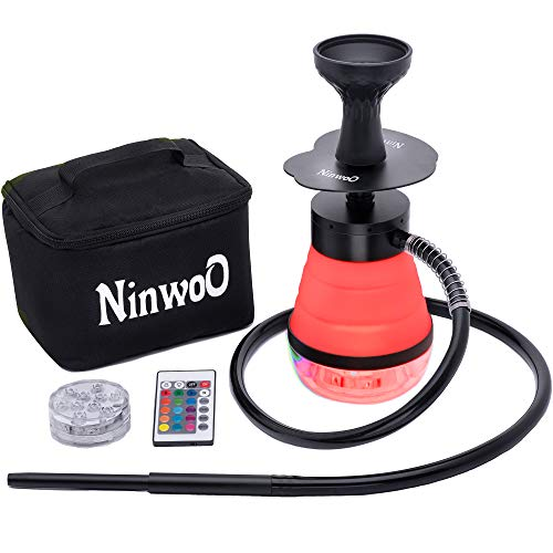 Hookah Set – Premium NinwoO Portable Hookah with Protective Bag Case – Best Travel Shisha with LED Light Remote Controller and Stable Adjustable Vase - Better Filtration with Diffuser (Red)