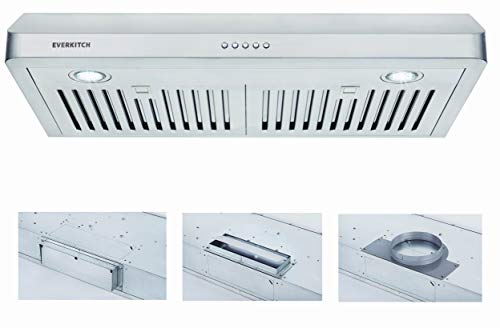 30 Inch Under Cabinet Range Hood Kitchen Vent Hood,Built in Range Hood for Ducted in Stainless Steel, 400 CFM with Permanent Stainless Steel Filters