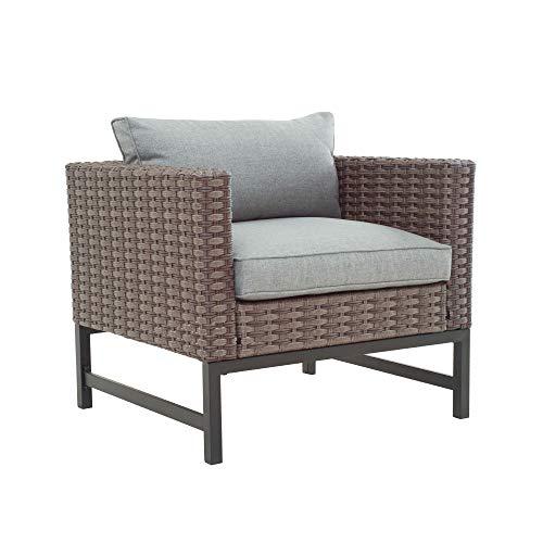 LOKATSE HOME Outdoor Patio Armchair Wicker Furniture Rattan Conversation Single Sofa Chair with Grey Cushion, Brown