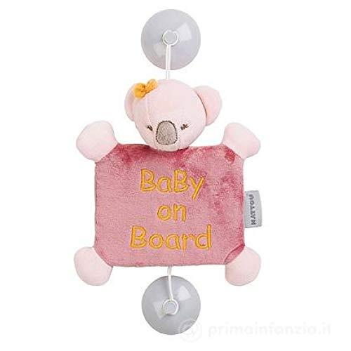 "Nattou Signalétique Koala Iris ""Baby on Bord"" avec Ventouses, Iris et Lali, 25 x 23 x 11cm, Rose"