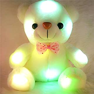 PKRISD 20Cm White Glowing Luminous Plush Bear Toys Ing Stuffed Bear Teddy Bear Lovely Toys for Children Girls Display Toy Toddler Must Haves Funny Gifts The Favourite Anime Superhero Stickers