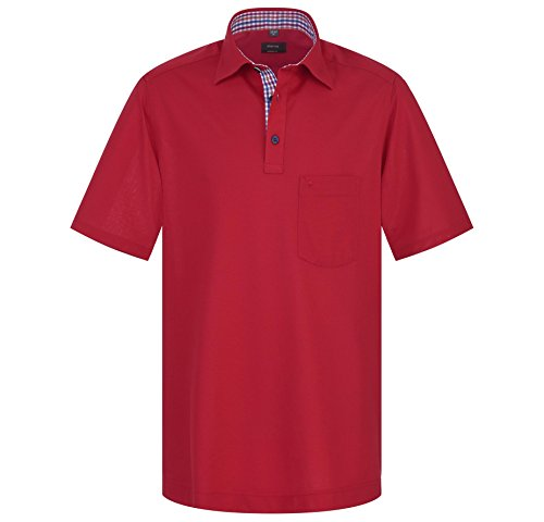 eterna Herren Polo Shirt Kurzarm Kurzarmshirt Freizeithemd Kurzarmpolo Poloshirt Polohemd Hemden Hemd Comfort Fit Rot Gr. L/42