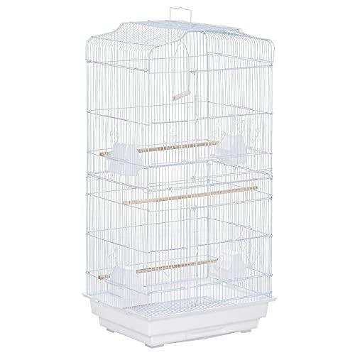Pawhut Gabbia per Uccelli con Trespoli, Altalena e Ciotole, Voliera in Metallo e Plastica, 46.5x35.5x92cm, Bianco