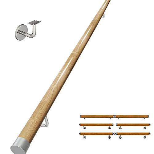 WZNING Pasamanos de la escalera de 30-600 cm, pasamanos de barandilla antideslizante de madera de pino antideslizante - Kit completo, barra de soporte de corredor, con soporte fijo, para personas mayo