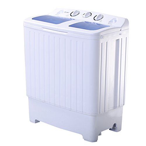 Compact Twin Tub Washing Machine, 17.6 lbs Semi-Automatic Washer & Spinner Combo w/Built-in Drain Hose, Ideal for Apartment, Dorm, RV
