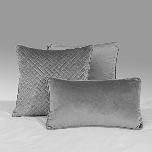 NRC Soft French Velvet Plain Design Scatter Cushion Covers 12' x 20' (Silver)