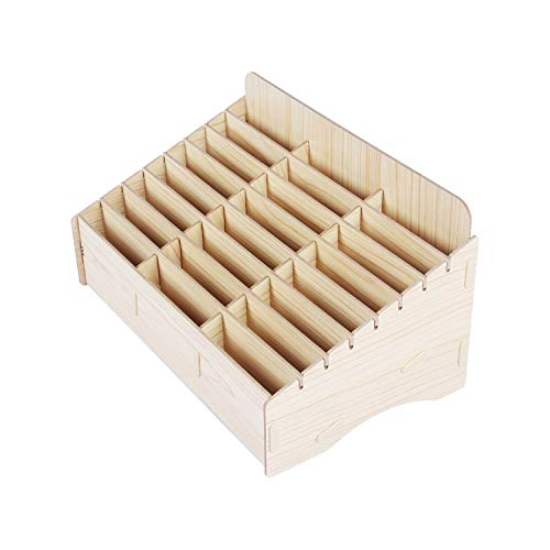 Kaisi 24 Grid Wooden Desktop Storage Box Mobile Phone Management Storage Box Creative Desktop Office Meeting Finishing Grid Multi Cell Phone Rack Display (24)
