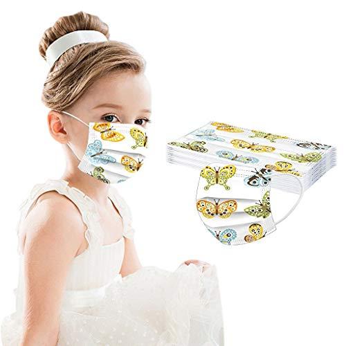10 Stück Kinder Mundschutz, Mund und Nasenschutz, Mehrfarbig Cartoon Druck Mundschutz Kinder, Schule Mundschutz Pack, Atmungsaktive Baumwolle Mund-Nasenschutz für Jungen Mädchen-Gelb