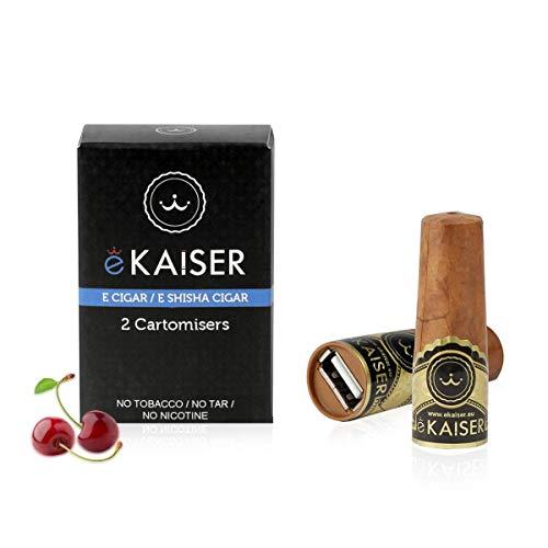 eKaiser Elektronische Zigarre 2er Pack Cartomizer, Cherry Flavour, E Zigarre E Shisha Einweg, 30/70 VG/PG Premium-Geschmacksrichtungen, 700 ZÜGE für eKaiser aufladbare Zigarre Cloud Chaser Vape