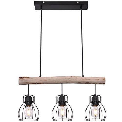 Vintage techo lámpara colgante jaula diseño salón comedor viga madera lámpara colgante globo 15326-3N