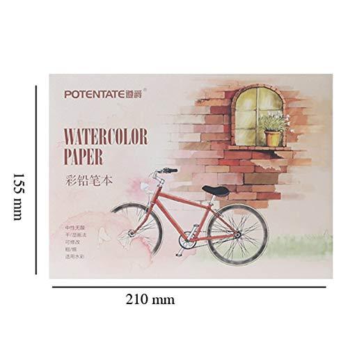 DishyKooker Watecolor Skizzenblock mit Farbstiften, natürliches Blatt, vielseitiges glattes Papier zum Schreiben, Zeichnen, Skizzieren, Studium, Bürobedarf, kleines Buntstiftbuch