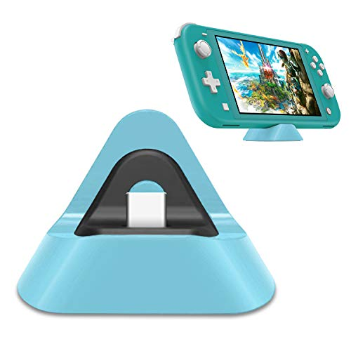 FYOUNG Protable Charging Dock for Nintendo Switch Lite, Stable Support Stand Charging Station for Switch Lite with Type C Input Port (Light Blue)
