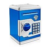 Jhua Money Banks Safe Saving Box ATM Bank Cartoon Moneda en Efectivo Contraseña Caja de Dinero electrónica Safe Locks Smart Voice Prompt Money Box para Niños (Azul)