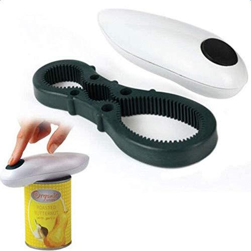 LCZ Abridor eléctrico de abrelatas automático, abridor de Cuchillas para latas de Vidrio, abrelatas automáticas con Interruptor de un Solo Toque para la Artritis