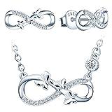 Yumilok-Tres mariposas combinación de símbolo infinito corazón hueco S925 collar de circonitas de plata esterlina pendientes de plata esterlina adecuados para mujeres (plata)