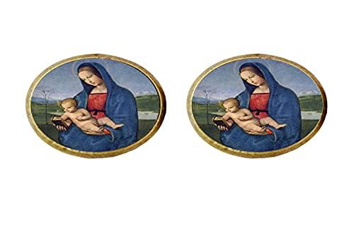 Pendientes de cristal con diseño de la Virgen María, para madre y bebé, cristiano, Jesús
